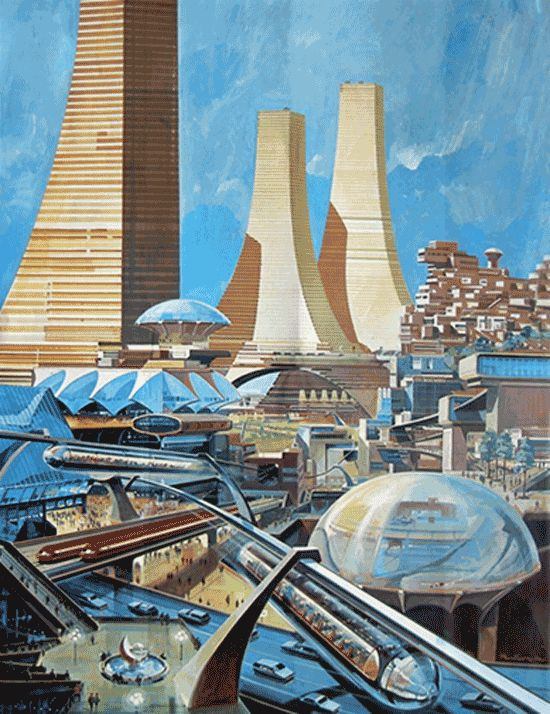 Retro-futuristic city.
