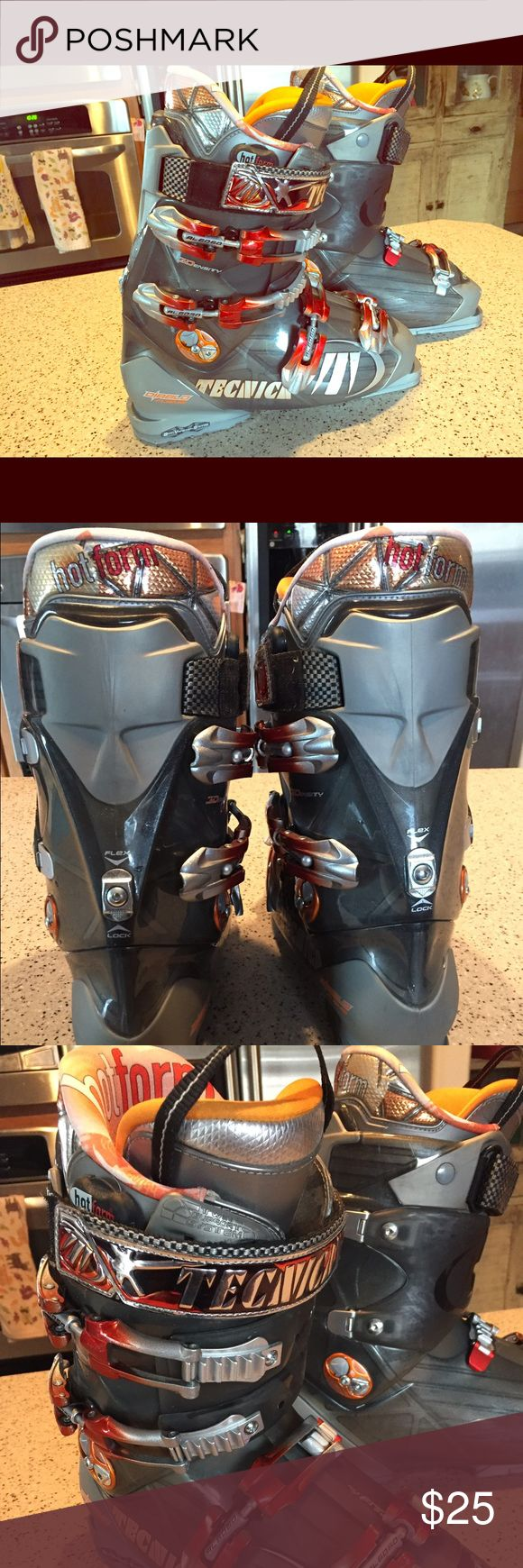 Tecnica ski boots for men Hardly used ski boots from tecnica.  Flashy orange and grey - diablo flame model.  Size 28.5.  Front entry with flex lock option on the shaft. ❄️❄️❄️❄️❄️❄️❄️ Shoes