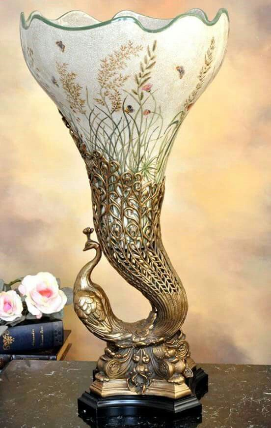 Art Nouveau Peacock Antique Vase