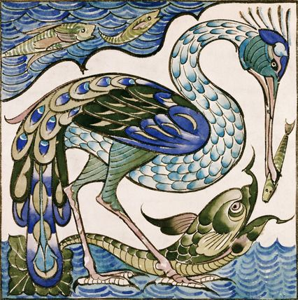 Heron and Dolphin tile by William de Morgan from the V archives