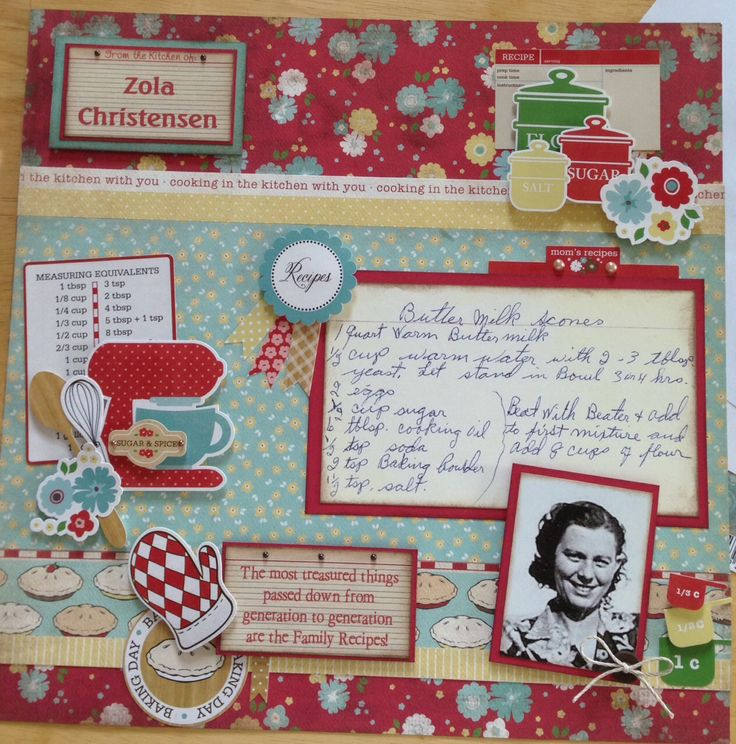 Recipe Scrapbook layout - Echo Park Homemade with Love Kit