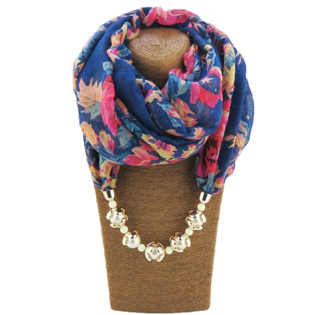 Women's Shawls Wrap Scarves New Fashion Scarf Multi-colour Pashmina Cross Imitation Pearl Pendant Necklace Charm Floral Colored