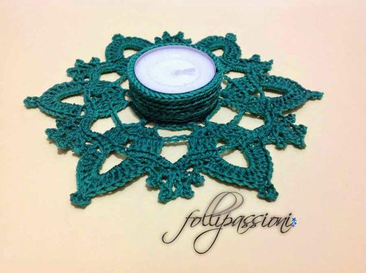 "Folli Passioni: Portacandela ""Eris"" - Pretty crochet tealight holder, pattern in Italian with crochet diagram."