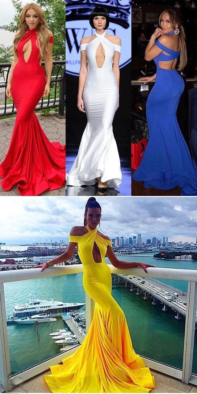 Mermaid sexy modest cheap charming yellow blue red white prom