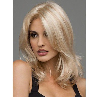 Women Synthetic Wig Sexy Blonde Medium Length Heat Resistant Full Hair Wig