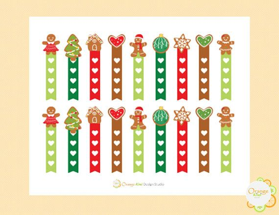 Gingerbread Cookie Flag Checklist Stickers Planner Stickers