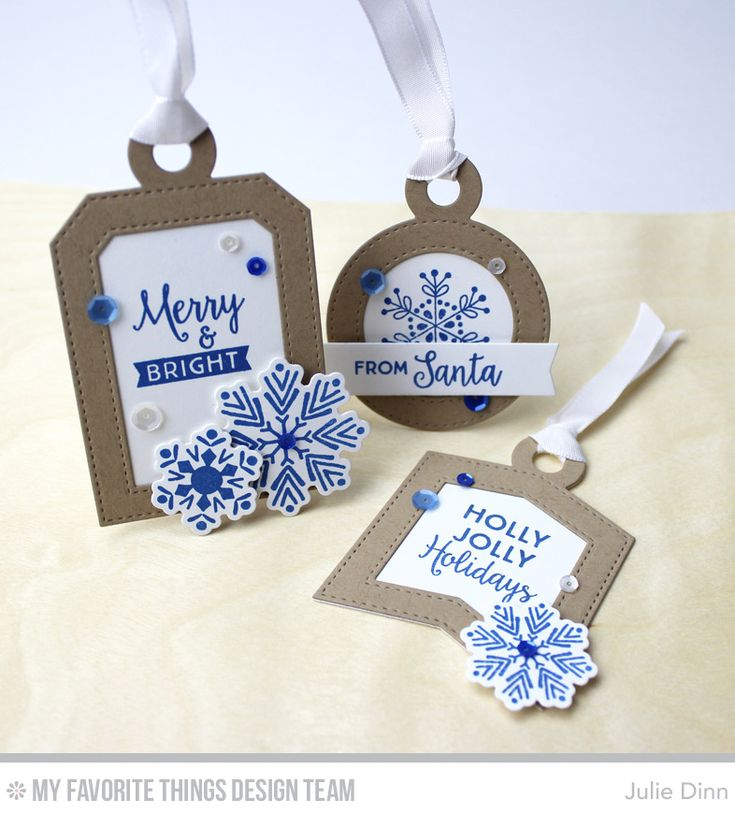 Handmade tags by Julie Dinn featuring the Snowflake Flurries stamp set and Die-namics, the Gift Tag Greetings stamp set and Tag Builder Blueprints 4 Die-namics #mftstamps