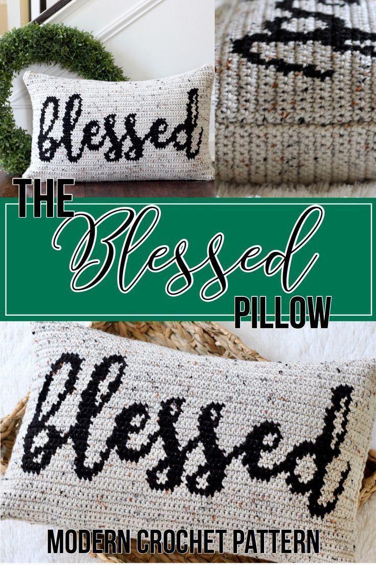 Crochet Pillow Pattern For Crochet Throw Pillow Cover Pattern Blessed Pillow Crochet Cushion Rustic Fall Decor Ideas Blessed Pillow Crochet Pillow Cover Crochet Pillow Pattern Crochet Pillow