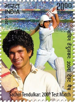 "14 November 2013 A postage stamp on ""Sachin Tendulkar 's 200th Test match"" Denomination - INR 20.00 #mnilay, #stamps , #indianstamps"