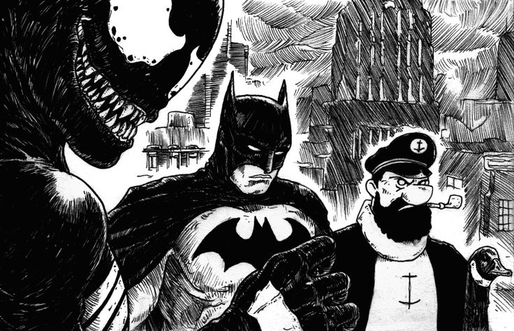 """An Unlikely Alliance of Dark Knights""; #Inktober #Inktober2015 #Day17 #Venom #Batman #Haddock #Goose"