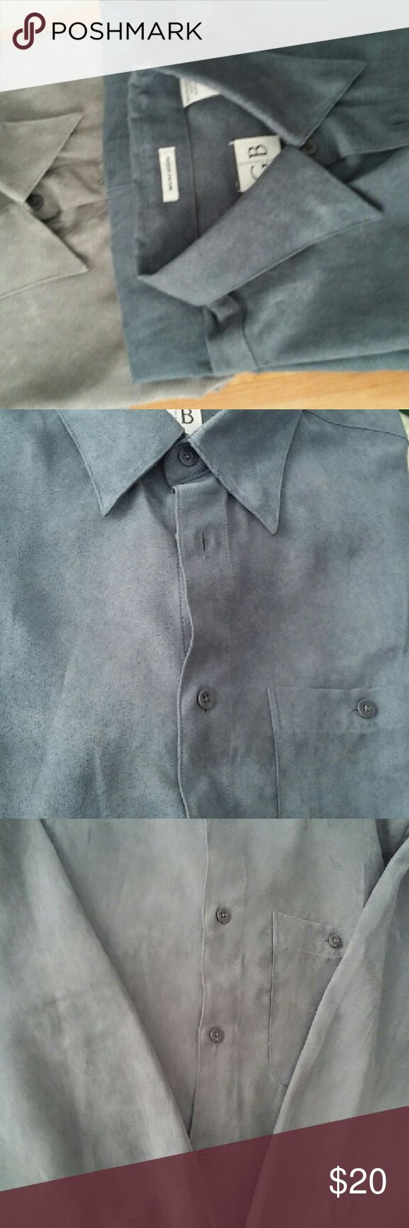Lot of 2 Geoffrey Beene Men's Micro Suede LS Shirt Lot of 2 Men's shirts. Gray Long Sleeve Micro Suede men's Shirt. Medium and also a Tan Micro Suede men's shirt, medium.  Like New condition. Polyester. Made in Bangladesh. Geoffrey Beene Shirts Casual Button Down Shirts