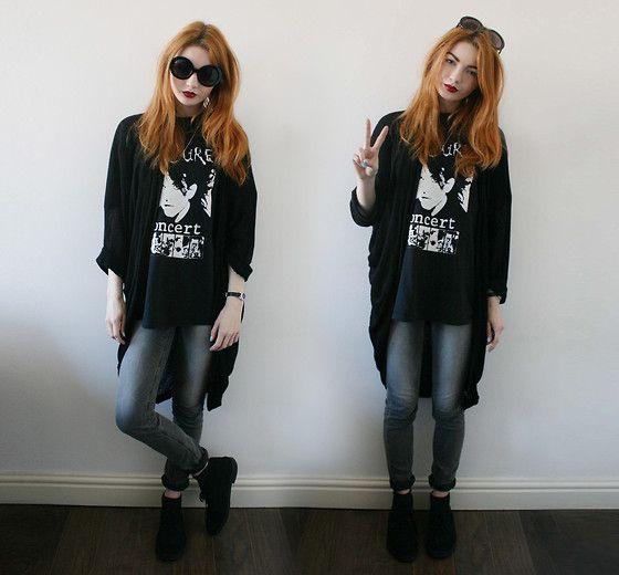 Hannah Louise - American Apparel Shawl Cardigan, Levi's® Revel Jeans, Clarks Desert Boots - Levis Revel | Band T-shirt