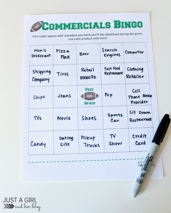Commercials Bingo - 3 Awesome Super Bowl Party Games by Just a Girl and Her Blog