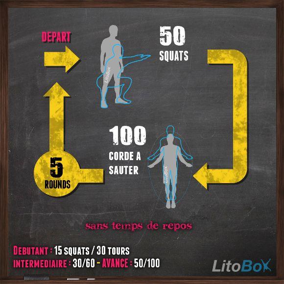 Entraînement du 13/01/2014 de CrossFit, 5 rounds de : 50 squats, 100 tours de corde à sauter