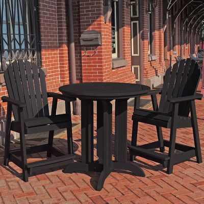 Beachcrest Home Shelton 3 Piece Counter Height Dining Set Finish Black