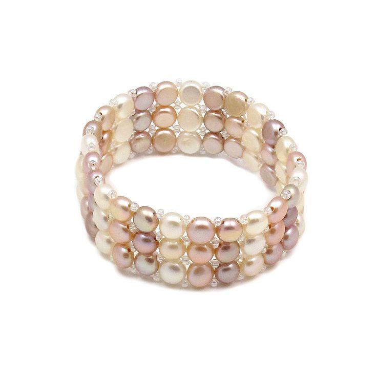 Brățară Orchira țesută cu perle de cultură alb, caisă, liliac