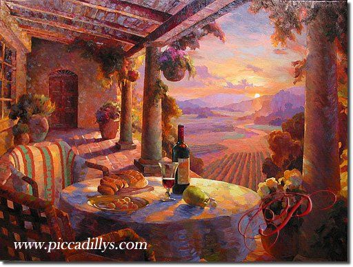 Sunset in Wine Country By Leon Roulette, Original Oil Painting
