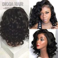 Short Wavy Full Lace Human Hair Wigs For Black Women Natural 180 Density Short Lace Front Wigs Human Hair Wig With Baby Hair