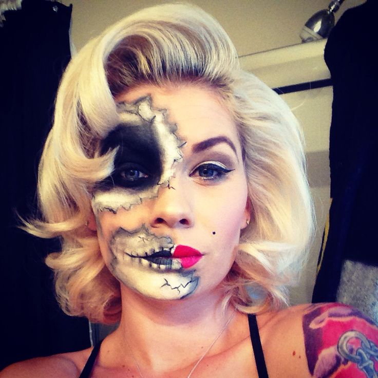 Pinup day of the dead Marilyn Monroe skull face paint for a Halloween costume