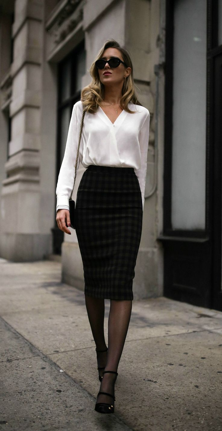 Classic white blouse, plaid midi skirt, black strappy pumps from Mary Jane, Cat Eye