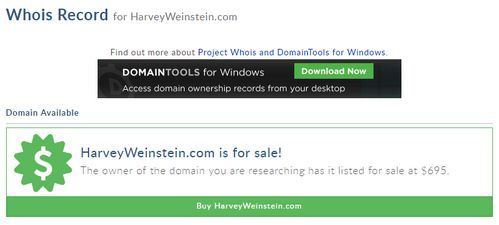 HarveyWeinstein.com domain name sold for $695 - Domain Name Wire | Domain Name News & Website Stuff