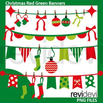 Christmas clip art. Red green Christmas bunting banners clipart. A fun graphic to decorate your worksheet! Also fun for many other projects! Great resource for any school and classroom projects such as for creating bulletin board, printable, worksheet, classroom decor, craft materials, activities and games, and for