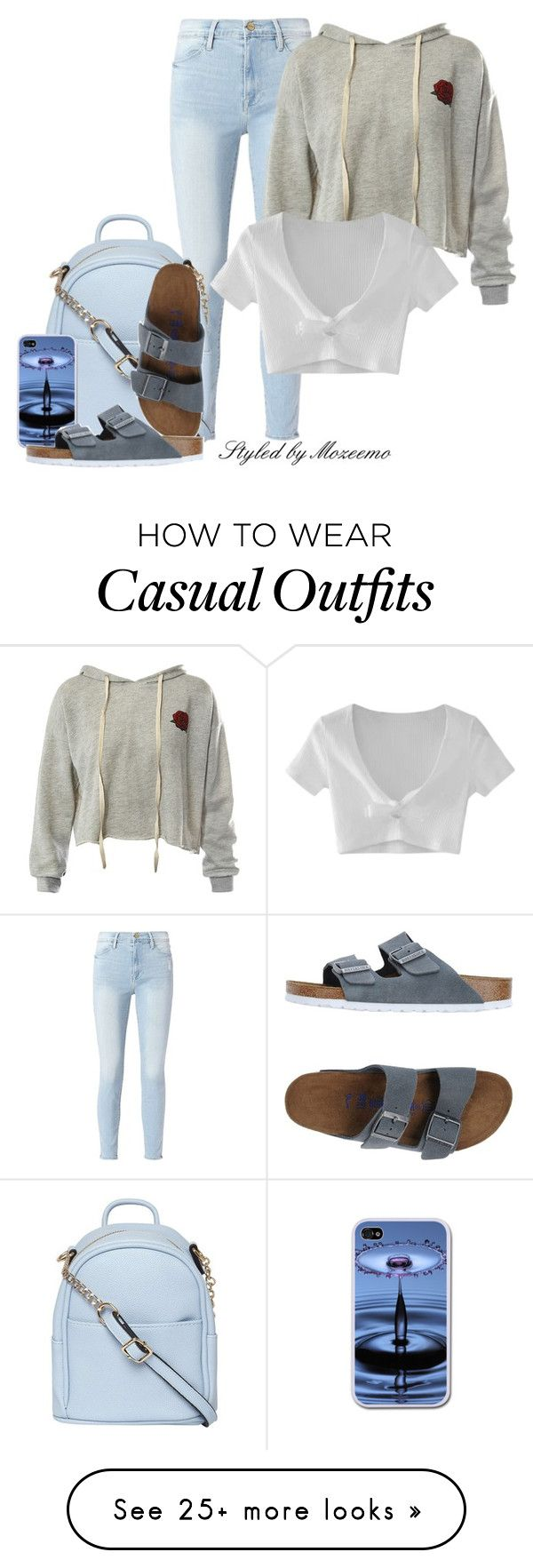 """""""Casual Jeans Outfit"""" by mozeemo on Polyvore featuring Frame, Sans Souci, Dorothy Perkins, WithChic and Birkenstock"""