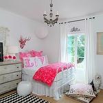 girl's rooms - white pink chevron chair white metal bed hot pink duvet shams gray chest dresser Milliken Black and White Vibe Rug Lush Designs LOVE Pillows