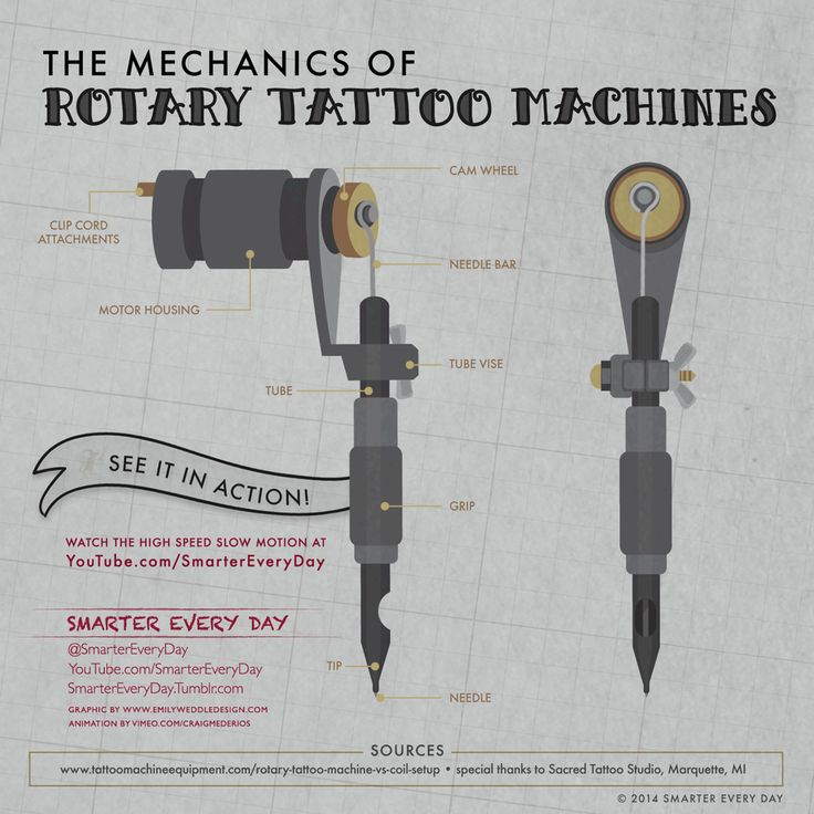 "Today's Smarter Every Day ""InfoGIFs"" are the two main types of tattoo machines, the coil and the rotary. Watch the Slow Motion Video by clicking here. Graphical Elements by Emily Weddle..."