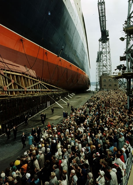 The Queen at the launch of the QE2 at the John Brown Shipyard, Clydebank, in 1967.