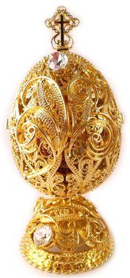 Gold Faberge Egg ~ With openwork of the Virgin Mary. Imperial Russian.