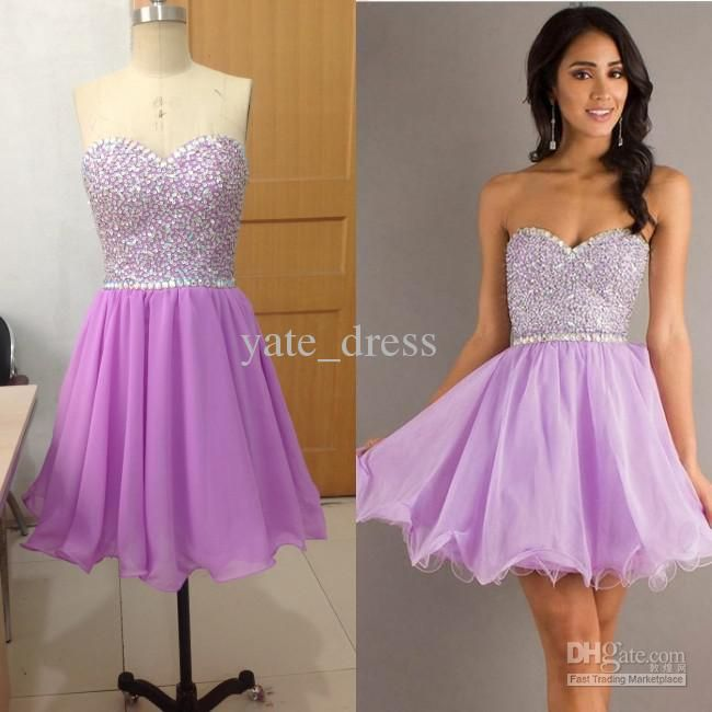 2013 Custom Made Sweetheart Light Purple Short Mini Beaded crystal stone Girls Prom Pageant Evening Cocktail Homecoming Gown Dress