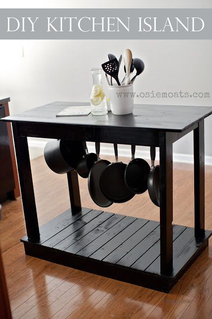 DIY Kitchen Island tutorial.  Really like this and it seems simple enough to make (hopefully!).  Would add casters; add hooks to the front for towels, etc.; a shelf for pots and pans rather than hanging them.  Can't make small cuts so would make butt-joints (hopefully!).
