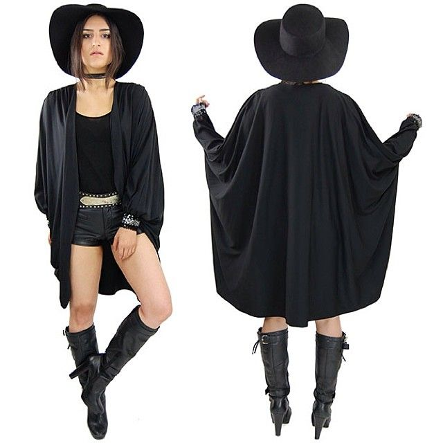 One More Chance Vintage @Jonathan London More Chance Vintage [Product Feature] Vintage black batwing cocoon cape jacket with sequin cuffs   www.omcvintage.com