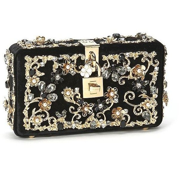 Dolce & Gabbana Embellished Velvet Clutch ($3,495) ❤ liked on Polyvore featuring bags, handbags, clutches, apparel & accessories, floral print handbags, floral handbags, embellished purses, velvet handbag and black clutches