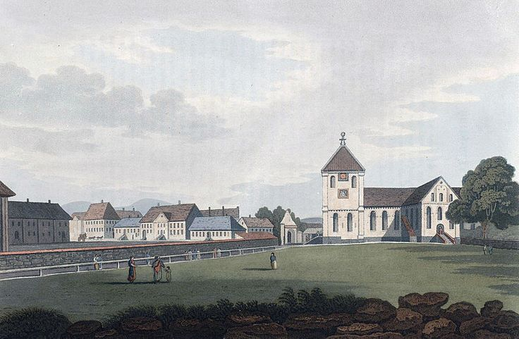 """Christiania great Church (JW Edy plate 51). English: """"Christiania great Church"""" Norsk bokmål: «Hoved Kirken i Christiania» Drawing by John William Edy (1760-1820) from his journey along the coast of Norway during the summer of 1800. Published in Boydell's picturesque scenery of Norway in 1820."""