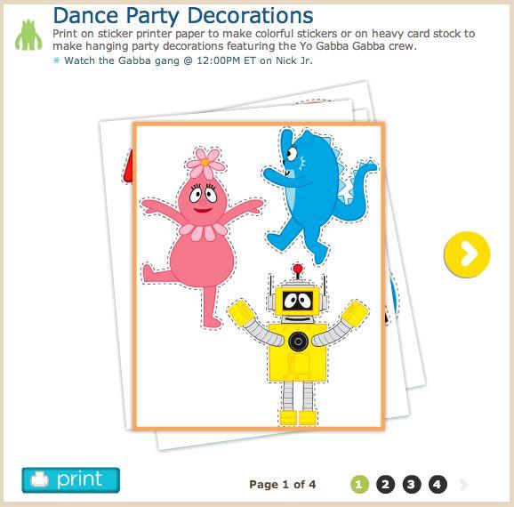 Dance Party Decorations Print on sticker printer paper to make colorful stickers or on heavy card stock to make hanging party decorations featuring the Yo Gabba Gabba crew! #birthday #party #yo #gabba #gabba #yogabbagabba #nick #junior #jr #nickjr #nickelodeon #children #toddler #diy #craft #project #foofa #toodee #plex #muno #brobee #partydecoration #decoration #cutouts