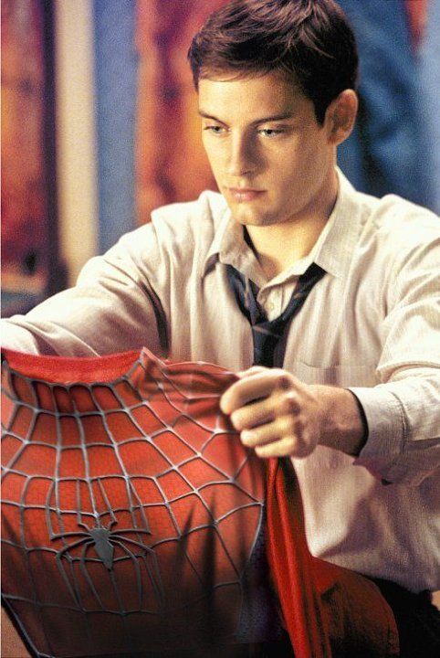 TOBEY MAGUIRE stars as Peter Parker in Columbia Pictures' action adventure SPIDER-MAN (rated PG-13 for stylized violence and action). ®... #{T.R.L.}