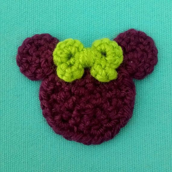 Green Bow Purple Minnie Crochet Hair Clip or Pin 918 Halloween ...