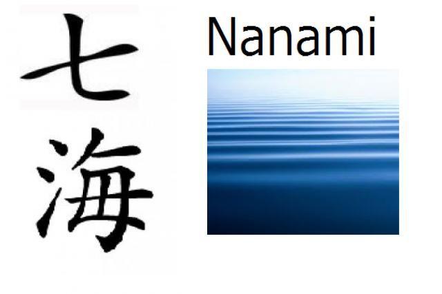 Nombre compuesto: Nana (siete) + Umi (mar)  Significado: Siete mares  Pronunciación: Nanami  Nombre de: Chica  Nanami puede ser escrito con otros kanji que tienen otros significados: 奈々美, 七美.