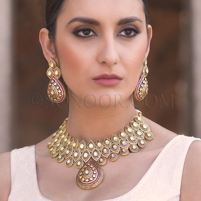 NEC/1/3709 Gorma Necklace Set with Earrings in dull gold finish studded with kundan, meena kari, czee stones, and crushed jade stones