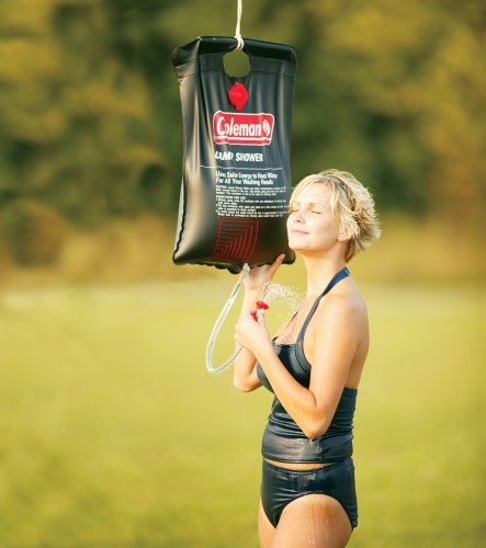 The Coleman 5 Gallon Solar Shower is easy to pack and super refreshing after a long day's hike. Buy from Amazon.