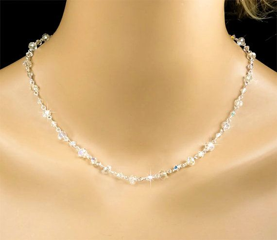 Crystal Necklace Clear AB Swarovski Crystal by PixieDustFineries, $50.00