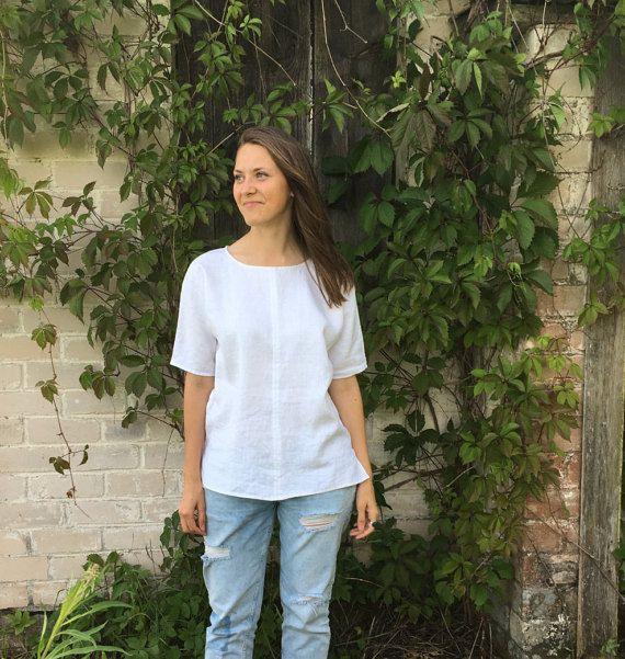 Chemise en lin blanc, T-Shirt en lin, lin haut, chemise à manches, tee-shirt en lin, chemise, chemisier en lin, ample chemise de lin, la taille Plus haut de taille