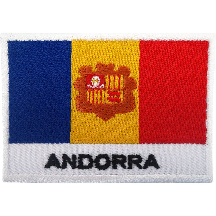 Andorra Flag Patch Iron On Badge / Sew On Flag Embroidered Embroidery Applique