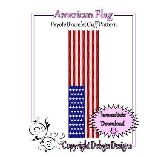 American Flag  Beaded Peyote Bracelet Cuff by FUNPATTERNDESIGNS, $4.50