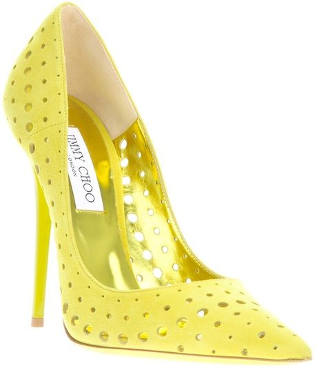 Jimmy Choo Yellow Perforated Pumps Sale €371 #JimmyChoo #Choos #Shoes