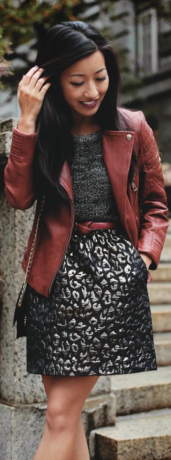 jacquard leopard skirt + metallic sweater by Extra Petite