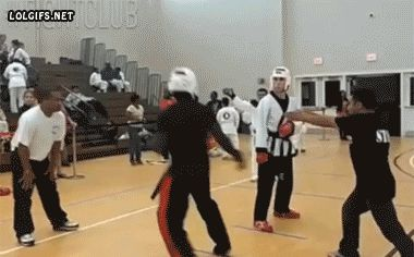 Reverse back heel kick so hard the opponent literally 'takes a bow' before getting knocked out.