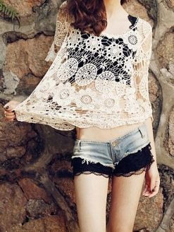 Beige 3/4 Length Sleeves Hollowed Crocheted Top